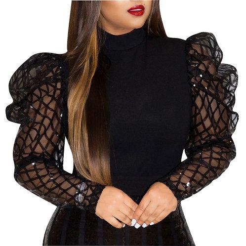 Womens  Elegant Long Mesh Puff Sleeve Blouse