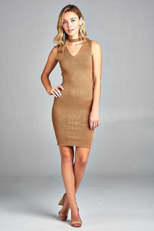 Women's Sleeveless V-Neck Choker Sweater Dress