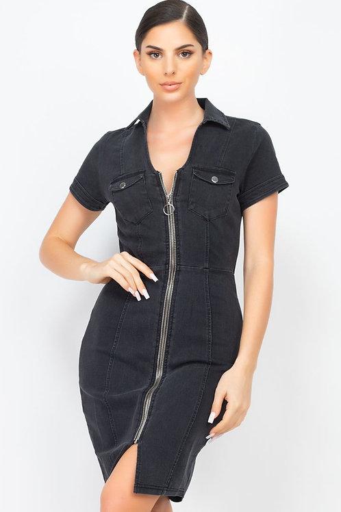 Denim Diva Mini Dress (Black)