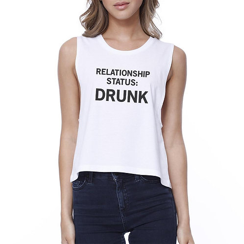 Relationship Status Womens White Crop Top for Women Funny Gift Idea
