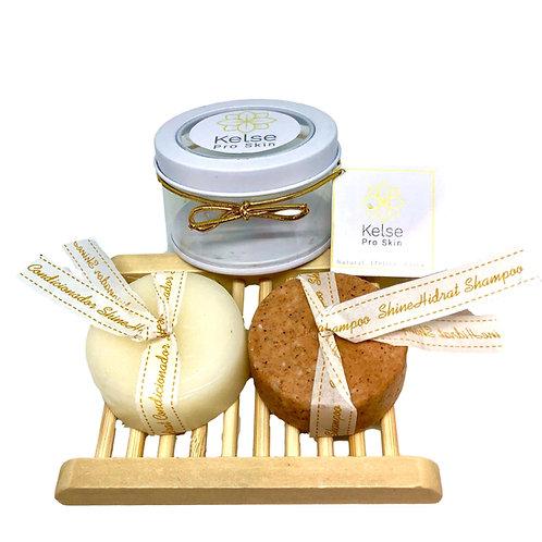 Kit ShineHidrat Hair Care Shampoo e Condicionador com Saboneteira
