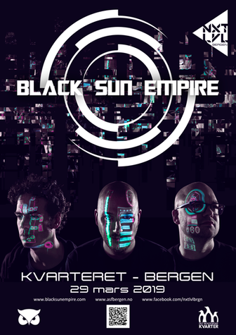 Poster design for Bergen Drum & Bass event Black Sun Empire Live by NXT LVL