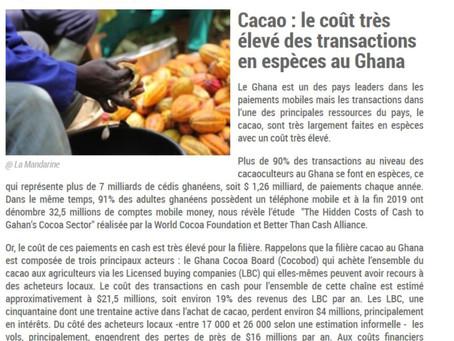 Mobile Banking pour payer le cacao - Ce ne sont pas les producteurs qui doivent supporter les frais