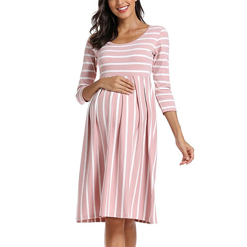 Maternity Casual Loose Striped Long Maternity Dresses 3/4 Sleeve