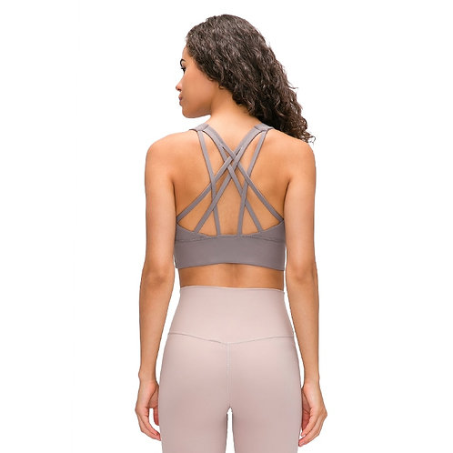 Yoga Bra Supportive Strappy Open Back Gym Top