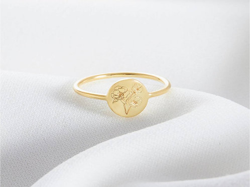 Gold Plated Birth Month Flower Ring (JW01013)