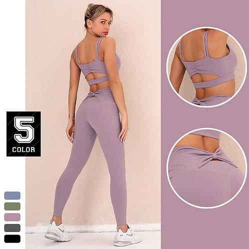 Women Quick Dry Fitness Leggings and Push Up Bra Set