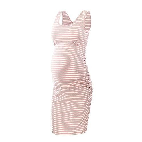 Womens Side Ruched Maternity Sleeveless Dress