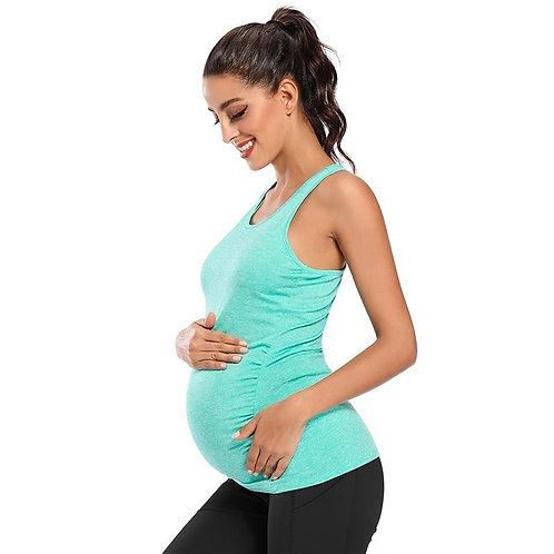 Maternity Tank Tops Seamless Racerback Pregnancy Yoga Top