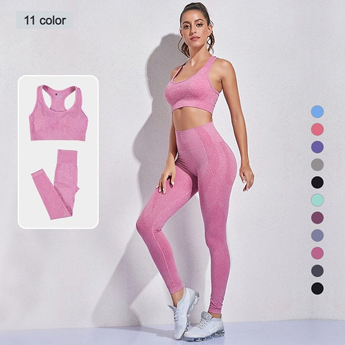 2 Piece Women Seamless Yoga Sets Gym Workout Fitness Clothes