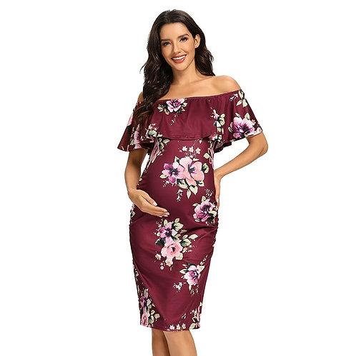 Women's Floral Ruffle Off Shoulder Maternity Dress