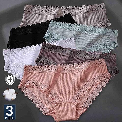3pcs/Set Women's Cotton Panties Sexy Lace Lingerie Underwear