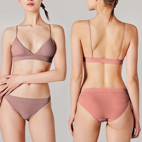 Sexy V-Neck Women Bra Set Seamless Intimates Lingerie Wireless Bra and Panty Set