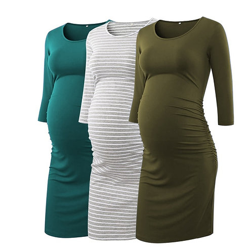 Side Ruched Maternity Dresses 3 Quarter Sleeve