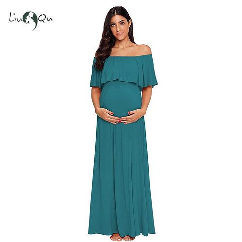 Ruffles Maternity Long Dress Off Shoulder