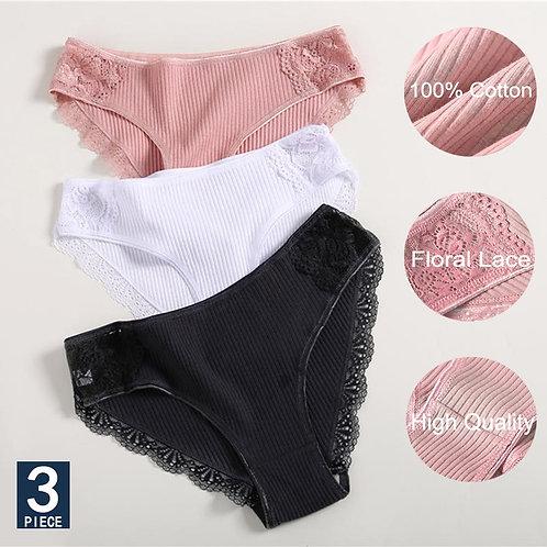 3pcs/Set Cotton Underwear Floral Lace Briefs for Woman Sexy Low-Rise