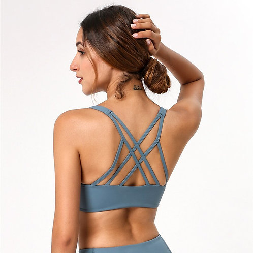 Padded Yoga Bra Front Curved Line Patchwork Fitness Top