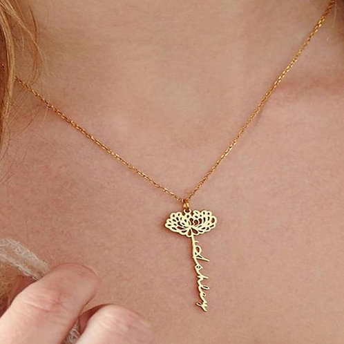 Personalized Name Necklace with Birth Month Flower (JW01011)