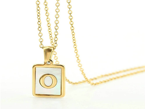 Initial A-Z Necklace with Natural Shell Pendant (JW01022)