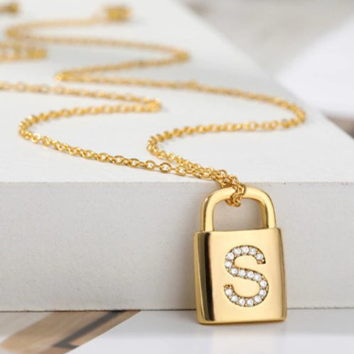 Initial A-Z Necklace with Golden Lock  (JW01025)