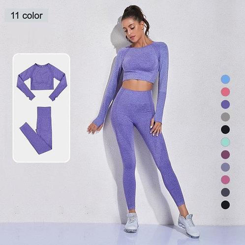 2PCS Seamless Leggings Women Tracksuit Yoga Set Sport Suit Fitness Sportswear