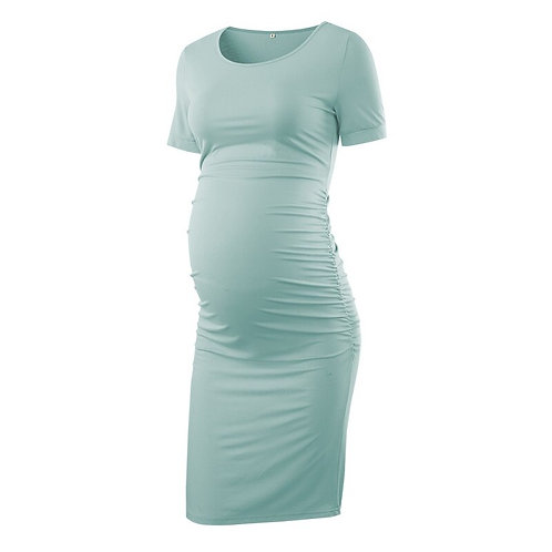 Mama Summer Maternity Dress Side Ruched Casual Short Sleeve Pregnancy Dress