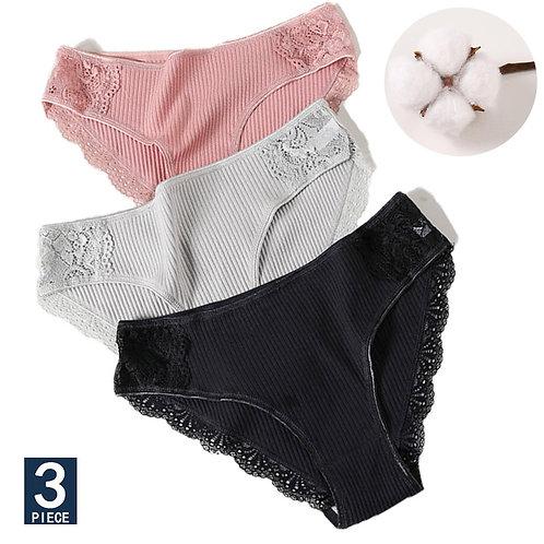 3PCS/Set Cotton Underwear Comfort Underpants Floral Lace Briefs
