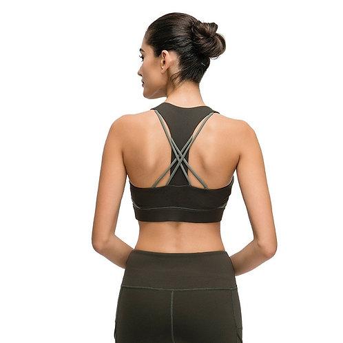 Sports Bra T-Shaped Cross Strap Shockproof  Training Vest
