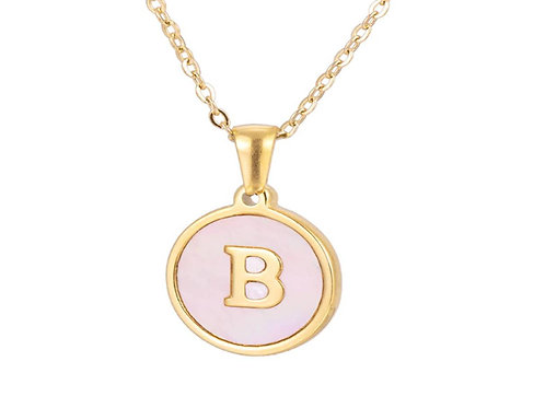 Initial A-Z Necklace with Pink Shell Pendant (JW01021)