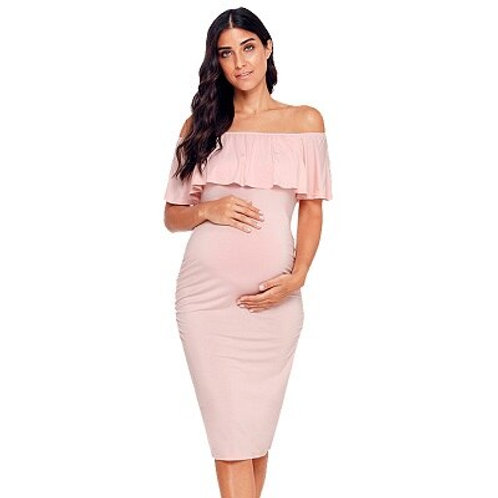 Ruffle Off Shoulder Maternity Dress Women Dress