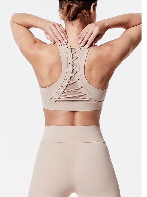 Women Mesh Stitching Strap Design Yoga Bra