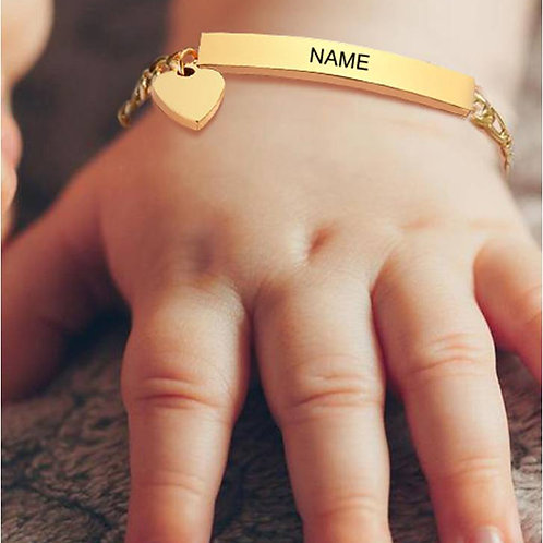 Personalized Baby Name Bar Bracelet with a little heart (JW01016)