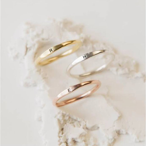 Gold Plated Initial Name Ring (JW01012)