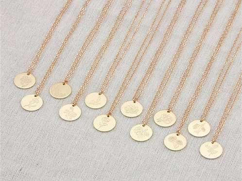 Gold Plated Birth Month Flower Necklace (JW01014)
