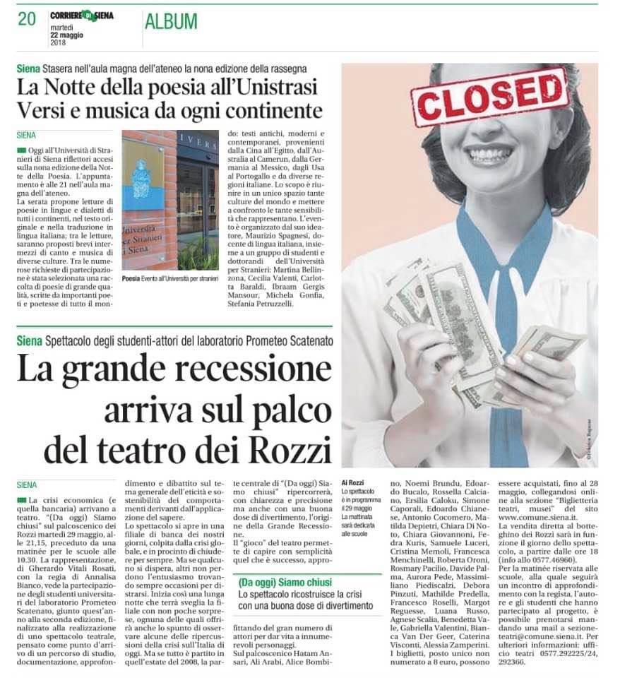 """Il Corriere di Siena del 22 maggio 2018 dedica spazio allo spettacolo """"(Da oggi) siamo chiusi"""" al Teatro dei Rozzi di Siena."""