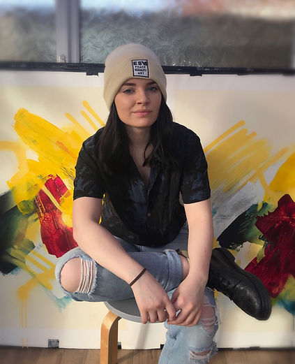 Emily Sarah Art In Studio , Young Artist and Professional Painter Emily Sarah Poses in Studio in West Sussex