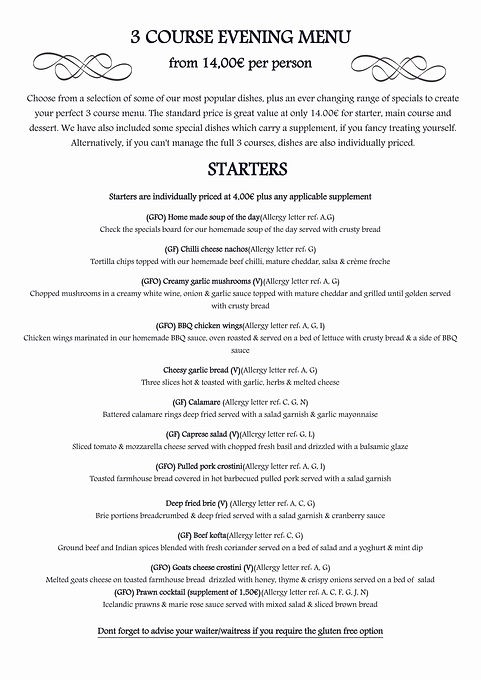 2020 Menu Pg 3 Evening Menu Starters GFO