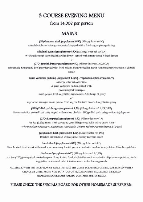 2020 Menu Pg 4-5 Evening Menu Mains GFO