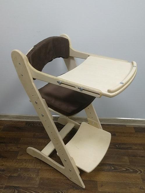 Стул растущий + стол для кормления , шлифованный с коричневыми подушками