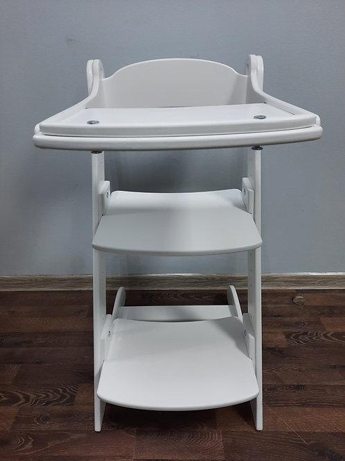 Стул растущий + стол для кормления, белый с серыми подушками
