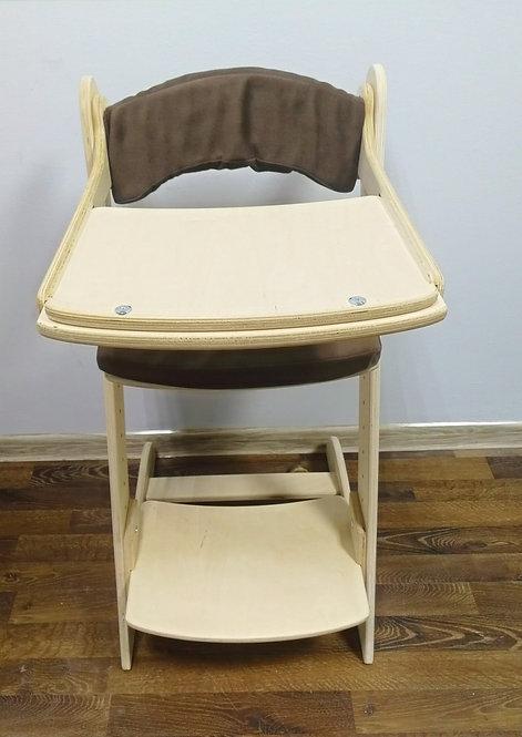 Стул растущий + стол для кормления , нешлифованный с коричневыми подушками
