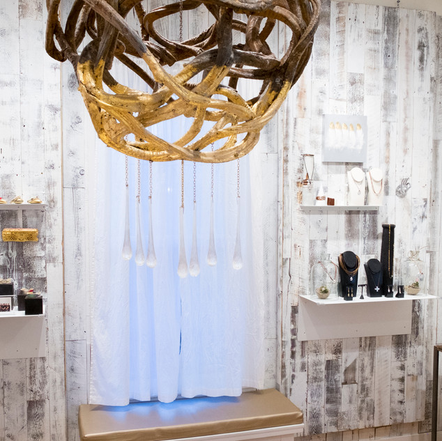 Gold Dipped Crystal Drip Chandelier