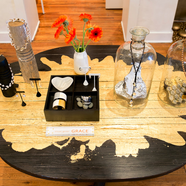 Gold Spill Tree Trunk Table