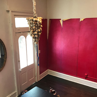 Egg Chandelier & Ruby Foil Trompe l'oiel Wall
