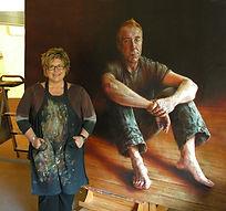 Bronwyn with Steve Bisley Painting
