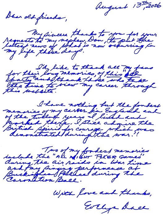 Evelyn Dall's welcome letter in her own handwriting