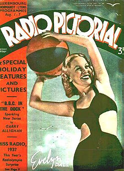 Evelyn in bathing costume from cover of Radio Pictorial magazin