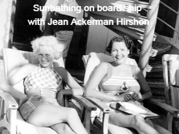 Sunbathing on board ship with Jean Acker