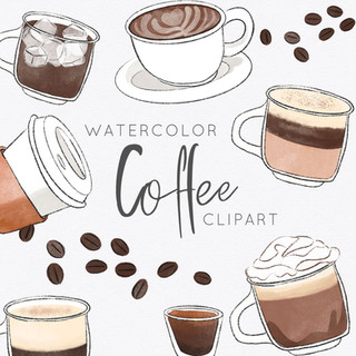 Watercolor Coffee Clipart