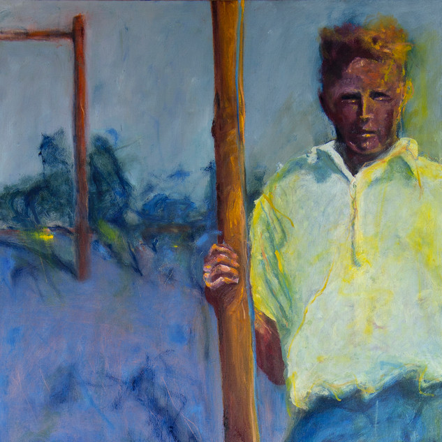 Jane Giblin_The 1920s high jumper, Emita in the Furneaux, oil on canvas, 100cm x 51cm, 2020